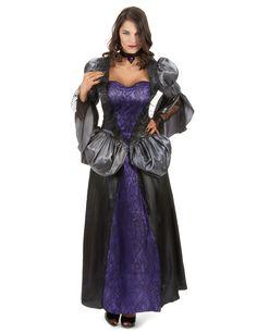 Disfraz de vampiro mujer: Este disfraz de vampiro para mujer incluye un vestido y una collar (peluca y zapatos no incluidos). El vestido es largo con las mangas abombadas de color gris. La parte de abajo de las mangas...