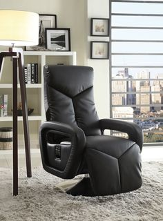 Creatively designed as an accent for your modern home, the Diem Collection by Homelegance Furniture will provide you with a relaxing spot to spend your down time. Perched atop a swivel base for easy movement, the fully reclining chair features a continuous loop arm design that lends to the contemporary feel. Homelegance Furniture's Diem Collection is offered in black or taupe Bonded leather match.