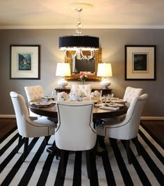 """from HGTV's Rate my space (link no longer live)  What a beautiful """"Dining Room in Progress"""" by RMSer knightmovesblog! / the """"striped rug"""" is actually Flor tiles"""