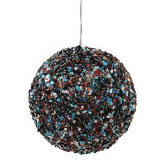 3.5'' Chocolate and Turquoise Sparkle Sequin Christmas Ball Ornament.