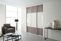 KAZED - portes de placard coulissantes Karacter 3 Chêne havane et verre laqué Blanc pur