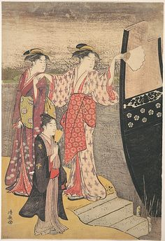 Disembarking from a Pleasure Boat on the Sumida River  Torii Kiyonaga  (Japanese, 1742–1815)  Period: Edo period (1615–1868) Culture: Japan Medium: Polychrome woodblock print; ink and color on paper