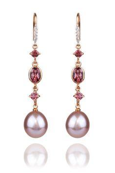"3/4"" long 14k rose gold dangle shepard hook earrings featuring 9 - 10mm pink fresh water Pearls, Pink Tourmaline & .07ctw Diamonds."