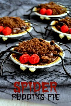 Spider Pudding Pies & Witches Cauldrons with Snack Pack Pudding! by The Domestic Rebel Chocolate Almond Bark, Chocolate Snacks, Chocolate Peanuts, White Chocolate Chips, Snack Pack Pudding, Pudding Pies, Halloween Treats, Halloween Foods, Fall Treats