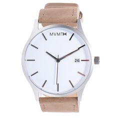 MVMT White Face Stainless Steel Watch with Tan Genuine Leather Strap | MVMT Watches