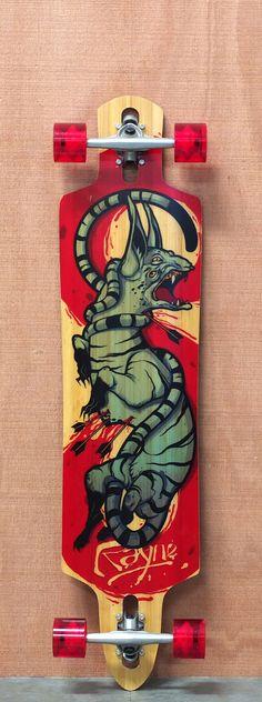 """Rayne 41.75"""" Hellcat Longboard Complete Rayne Longboards, Long Boarding, Longboard Design, They See Me Rollin, Skate Art, Cool Skateboards, Skateboard Decks, Surfboards, Skateboarding"""