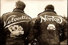 Via ~ The Vintagent........The author with his Velocette jacket with Josiah Leet, jacket art by PdO. 1989.