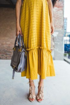 mustard yellow dress and fringe heels #fall #styleblogger