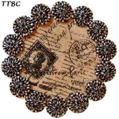 Paris Apartment French Script Placemat / Burlap & Homespun Cotton YoYo Candle Mat Doily.  Ebay 251255356051 ... $9.99