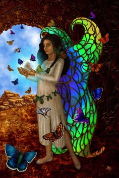 """Butterfly Maiden by Sharon George; Though Kachina means """"Spirit"""", """"Butterfly Maiden is believed to be a fertility Goddess who brings about transformation, new beginnings, and fresh starts in life. Indian Goddess, Goddess Art, Divine Goddess, American Indians, Native American, American Women, Butterfly Meaning, Butterfly Art, Butterfly Symbolism"""