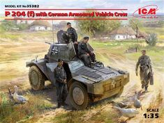ICM 35382 w/German Armoured Vehicle Crew in Plastic Model Kits, Plastic Models, German Police, French Army, Rubber Tires, Armored Vehicles, Box Art, World War Ii, Military Vehicles