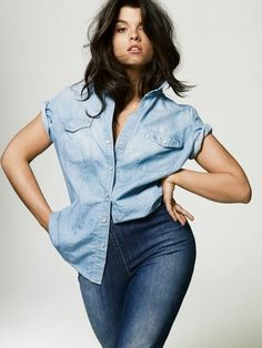 Plus Size Model Crystal Renn! Mix and match different kinds of denim