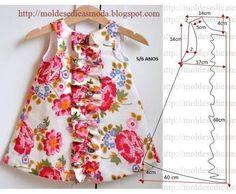 Vestido de criança com estampado florido para meninas dos 5 aos 6 anos
