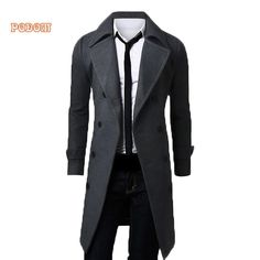 Now at our store Mens Trench Coat Long Sleeve Wool Casual Jacket come see at A Sheek Boutique. Wool Trench Coat, Trench Jacket, Business Formal, Long Jackets, Long Coats, Mens Style Guide, Men Casual, Smart Casual, Medium Long
