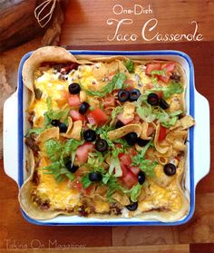 One-Dish Taco Casserole   www.takingonmagazines.com   Super easy to make, fun to eat and downright delicious, this One-Dish Taco Casserole is a perfect family meal.