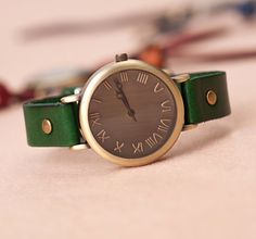 Stan vintage watches — Wrist Watch Handmade Vintage Womens Mens Leather Bangle Studded Bracelet Quartz (WAT0120)