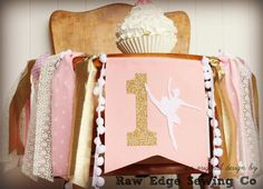 BALLERINA Pink Gold Birthday High Chair Highchair Banner Party Photo Prop Bunting Backdrop Wonderland Lace Cake Smash One First Fabric