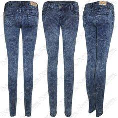 NEW LADIES MARBLE WASH SKINNY JEANS WOMENS SLIM STRETCH BLUE DENIM FIT TROUSERS   eBay #clothing #fashion #shopping