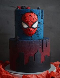 Spiderman Birthday Cake, Spiderman Theme, Avengers Birthday, Superhero Cake, Cupcakes, Cupcake Cakes, Marvel Cake, Avenger Cake, Character Cakes