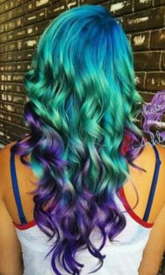 Green purple dyed hair @changecosmetics