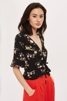 Floral Ruched Top - Tops - Clothing - Topshop USA