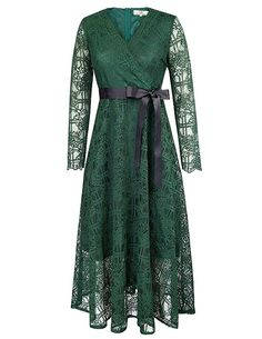 Women Long Sleeve Vintage Lace Dress Size XL Dark Green