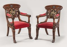 A Pair of Late Georgian Armorial Armchairs of Important Size