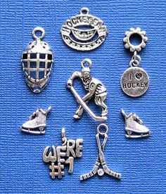 Hockey Charm Collection Antique Tibetan Silver by BohemianFindings