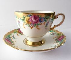 "Tuscan ""Garland"" China Tea Cup & Saucer Teacup Duo"