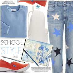 School Style by regettacanoe on Polyvore featuring Blair, STELLA McCARTNEY, PB 0110, Paper Mate, xO Design, polyvoreeditorial, polyvoreset and regettacanoe