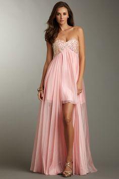 La Femme Strapless Beaded Hi-Lo Gown on HauteLook