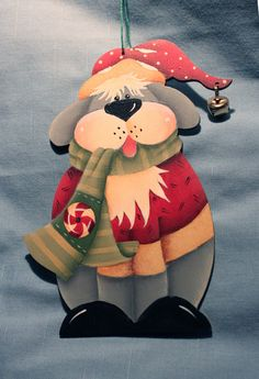 Hand Painted Dog Wooden Christmas Ornament. $13.00, via Etsy.