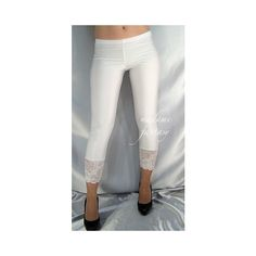 White Shiny Spandex Leggings Lace Cuffs ($39) ❤ liked on Polyvore featuring black, leggings, women's clothing, stretch leggings, black stretch pants, black wet look leggings, white lace leggings and black pants