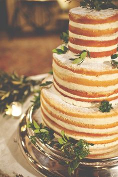 Simple rustic wedding cake with leaves