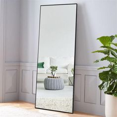 diy Home Decor mirror - NeuType Black Aluminum Alloy Thin Frame Full Length Floor Mirror Standing Hanging or Leaning Against Wall - The Home Depot Full Length Floor Mirror, Full Length Mirror In Bedroom, Black Floor Mirror, Floor Mirrors, Mirror For Bedroom, Salon Mirrors, Full Length Mirror Black Frame, Master Bedroom, Leaning Floor Mirror