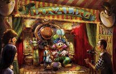 Artwork for Pete's Silly Sideshow in New Fantasyland; Meet the Astounding Donaldo.