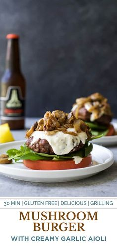 This Mushroom Burger with Horseradish Aioli is a delicious gluten free burger recipe! It's made with caramelized onions and topped with a creamy homemade horseradish aioli! #burger #burgerrecipes #summerrecipes Gluten Free Burger Recipe, Burger Recipes, Grilling Recipes, Cooking Recipes, Homemade Horseradish, Ketogenic Breakfast, Mushroom Burger, Aioli, Caramelized Onions