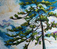 pine in the sky Colorful Paintings, Contemporary Paintings, Colourful Art, Decorative Paintings, Sketches Of People, Drawing People, Pine Tree Painting, Canadian Art, Art Plastique