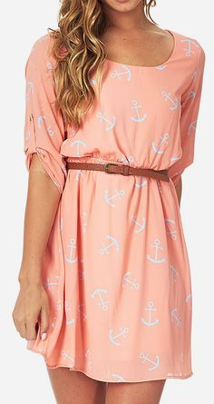 Peach  Blue Anchor Belted Three-Quarter Sleeve Dress