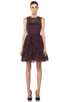 Chic After Dark: ALICE + OLIVIA  Ophelia Sleeveless Lace Top Dress in Plum