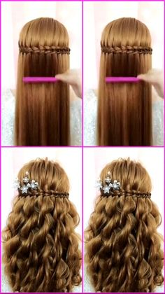 Easy Hairstyles For Long Hair, Braids For Long Hair, Headband Hairstyles, Up Hairstyles, Frozen Hairstyles, Rose Hairstyle, Kawaii Hairstyles, Indian Wedding Hairstyles, Flower Girl Hairstyles