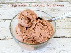 3 Ingredient Chocolate Ice Cream- No Ice Cream Machine Needed! This easy homemade ice cream recipe is the perfect summer treat. Yum!