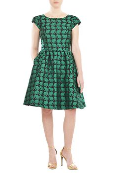 #Elephant #jacquard #metal zip back dress from eShakti