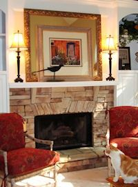 Layering custom framed art on top of a framed mirror! Fireplace Gallery, Fireplace Mantle, Fireplace Ideas, Wall Groupings, Frames On Wall, Home Projects, Home Crafts, Mantles, Hanging Pictures