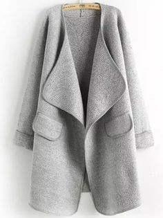 This classic Grey Long Sleeve Coat features waterfall collar, simple style, which makes you a casual outlook! Free shipping with 100% Quality Guarantee!