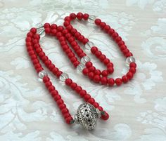 10 Decade Looped CORAL Medieval Rosary PATERNOSTER w/- Pomander SCA Re-enactment Garb Larp $ 39.00