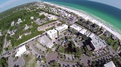 Aerial views of Gulf Place beach town in Santa Rosa Beach, Florida. View Florida's most beautiful beaches in South Walton county Florida.
