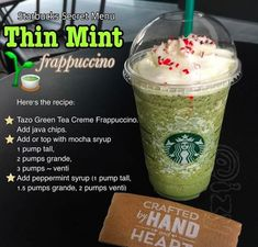 You can also repeat these exact directions to get yourself a one-of-a-kind Thin Mint Frappuccino. Here Are 15 Ways People Hacked Fast Food Menus So Now You Can Too Starbucks Frappuccino, Iced Starbucks Drinks, Starbucks Coffee, Coffee Drinks, Starbucks Secret Menu Items, Starbucks Secret Menu Drinks, Thin Mints, Party Platters, Food Platters
