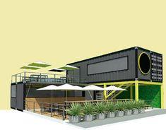 Outdoor Restaurant Design, Rooftop Restaurant, Cafe Shop Design, Pub Design, Container Cafe, Container House Design, Container Buildings, Container Architecture, Farm Plans