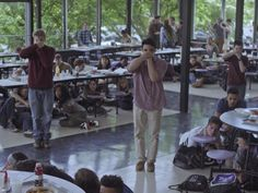 Steve French and Buck the OA cafeteria scene